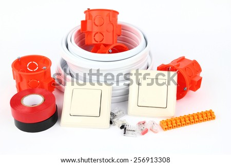 The electrical equipment on the white background - stock photo