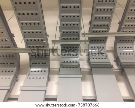 electrical wiring buildinga cable tray system stock photo 758707666 rh shutterstock com maintaining electrical wiring support systems electrical wiring supplies ace hardware