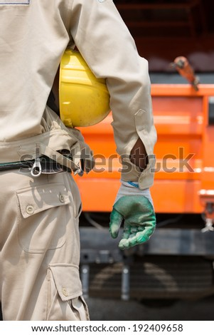 The electricial of high voltage.He working with high voltage power system. - stock photo