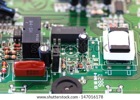 The electronic board work in analog signal - stock photo