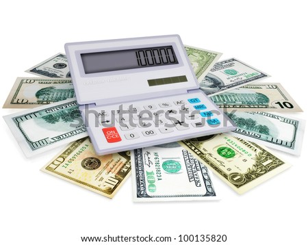 The electronic calculator and cashes in 3d