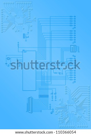 The electronic scheme with the microprocessor and printing conductors - stock photo