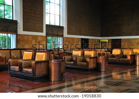 The elegant waiting room of Union Station in Los Angeles