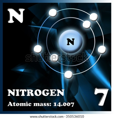 The element nitrogen in the periodic table of Mendeleev - stock photo