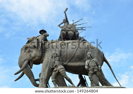 The elephant statue in the blue sky