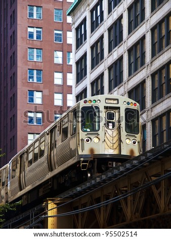The Elevated Train  in Chicago - stock photo