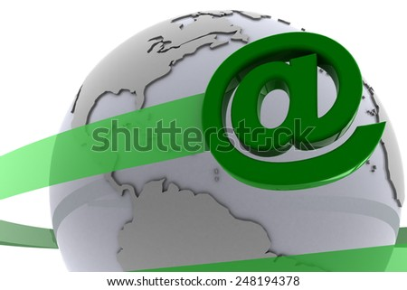 The email at-sign around the globe. An email at-sign flies around the globe representing the internet. - stock photo