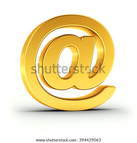 The Email symbol as a polished golden object over white background with clipping path for quick and accurate isolation.