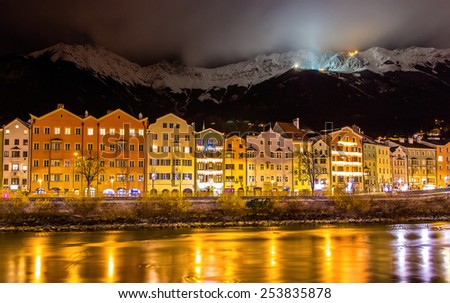 The embankment of Innsbruck at night - Austria - stock photo