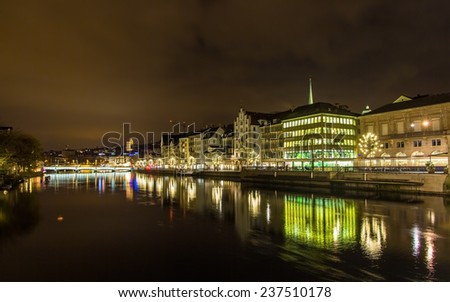 The embankment of Zurich at night - Switzerland - stock photo