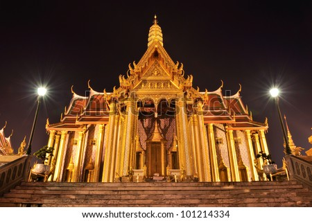 The Emerald Buddha temple in night, Bangkok, Thailand - stock photo