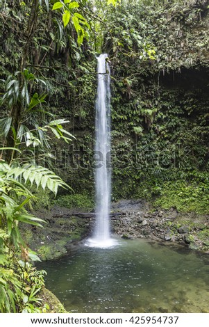 The emerald lake water Falls  located on the island of Dominica in the West Indies in deep rainforest