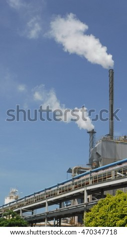 the emission smoke from stack chimney boiler industry business