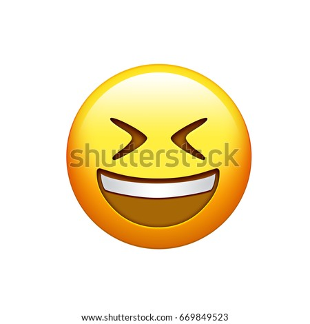 the emoji yellow face laughing out loud with eyes closed icon