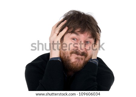 The emotional man pulls faces.Man with a beard. Isolated on a white background - stock photo