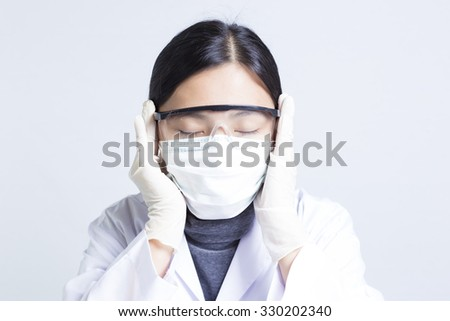 The Emotional of Woman Sciencetist: Relax Time - stock photo
