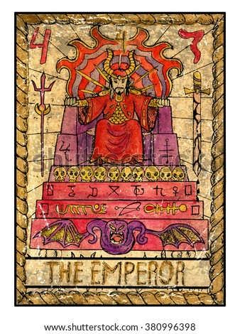 The emperor. Full colorful deck, major arcana. The old tarot card, vintage hand drawn engraved illustration with mystic symbols. Man in crown sitting on scary throne decorated with sculls and demons - stock photo