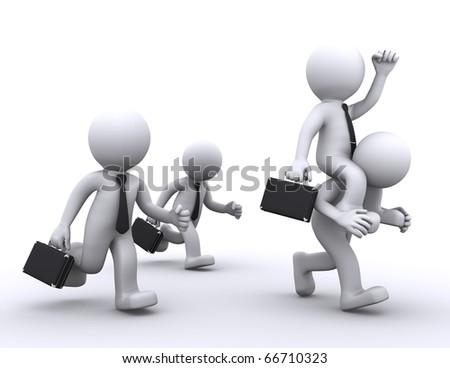 The employer rides on employee. competition concept - stock photo