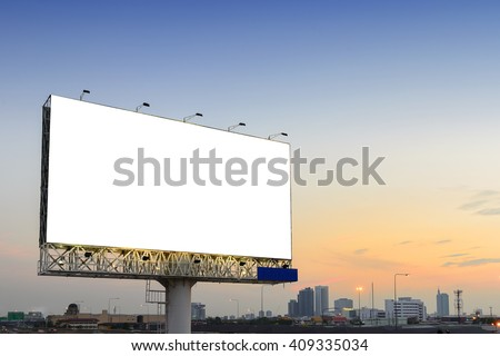 the empty advertisement board beside the highway road with the twilight scene  - stock photo