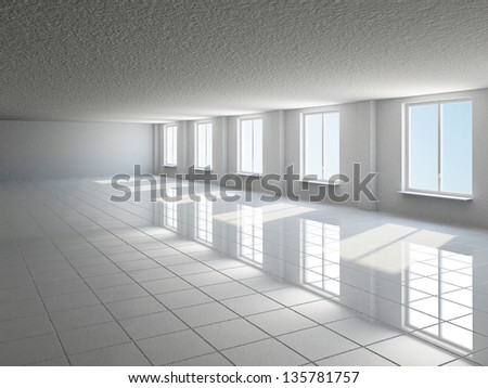 The empty big hall with  white wall