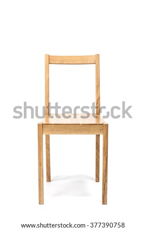 The empty(blank, vacant, hollow) square wood chair for dining, office, living with no people isolated white at the studio. - stock photo
