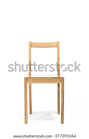 The empty(blank, vacant, hollow) square wood chair for dining table with no people close up isolated white at the studio. - stock photo