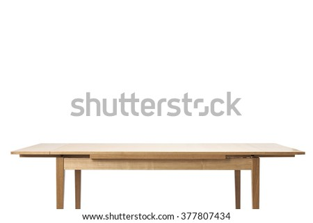 The empty(blank, vacant, hollow) wood(birch, ply) table(desk) with no food, no people isolated white at the studio.