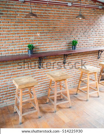 The Empty Cafe (Coffee Shop), Wooden Chairs With Leather Seat Near The Bar