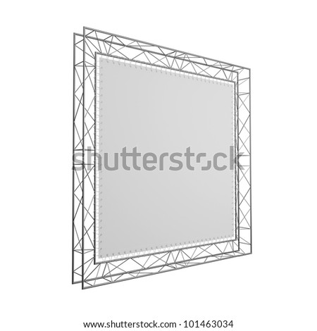 The empty exhibition stand isolated on a white background. Side view, prospect. - stock photo