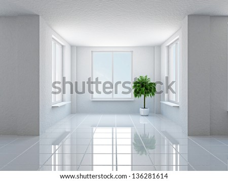 The empty hall with plant and windows - stock photo