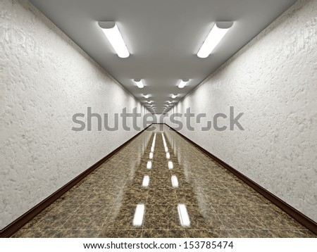 The empty long corridor with concrete wall - stock photo