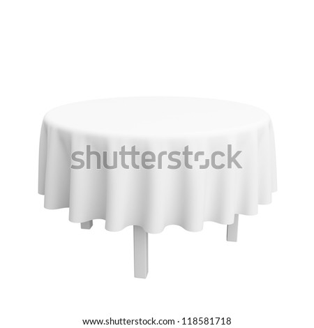 The empty round desktop covered with a white cloth. Isolated on a white background. - stock photo