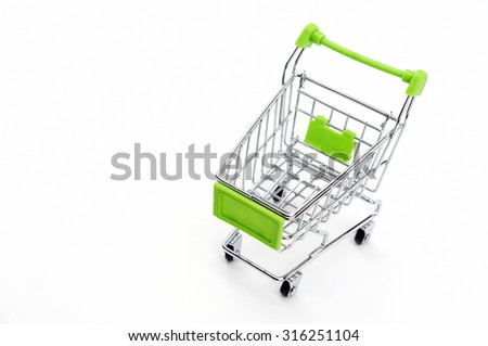 the empty shopping cart isolated on white background - stock photo