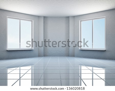 The empty white room with two windows - stock photo