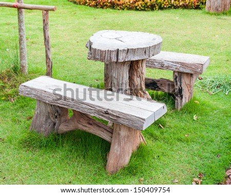 The empty wooden table and bench in garden or park