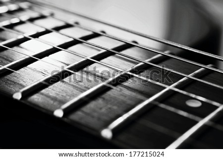 The endless strings of electric guitar - stock photo