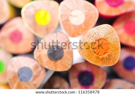 The ends of color pastel - stock photo