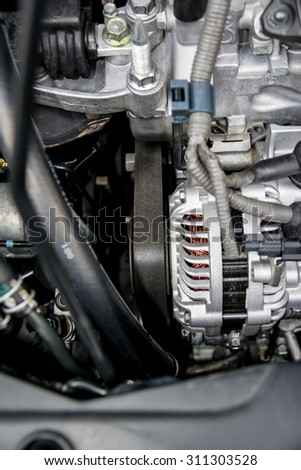 The engine belt is a strip of material used in various technical applications