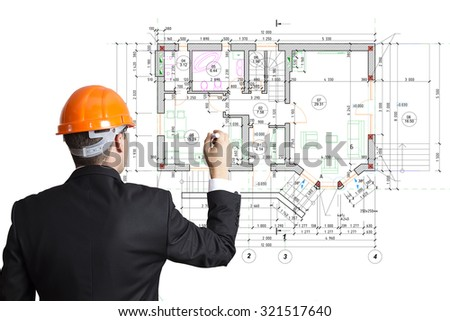 The Engineer, Architect Draw The Building Plan.