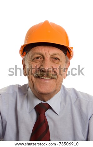 The engineer in a helmet isolated on white - stock photo
