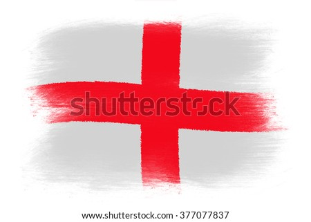 The England flag - Painted grunge flag, brush strokes. Isolated on white background.