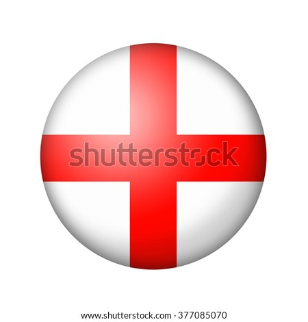 The England flag. Round matte icon. Isolated on white background. - stock photo