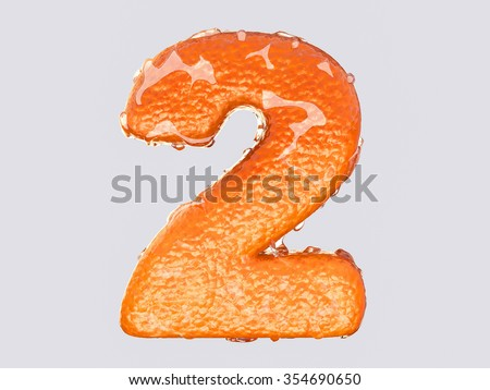 The English letter is designed to resemble an orange peel and peel fruit. Condensation on the letter. Cheerful