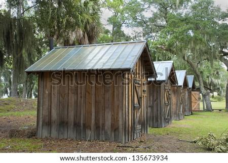 The enlisted men's quarters at the Civil War Era Fort McAllister, near Savannah, Georgia. - stock photo