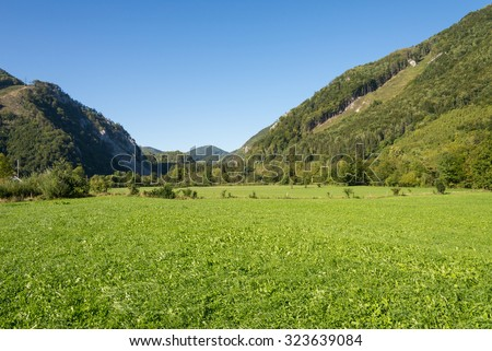 The Enns valley in Upper Austria. The national park Limestone Alps. The valley is one of the most beautiful landscapes in Upper Austria. It is the largest closed and virtually uninhabited forest area - stock photo