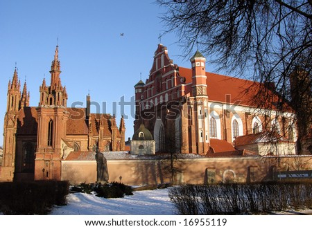 The ensemble of a monastery and gothic St.Ann church in Vilnius old town, the capital of Lithuania.