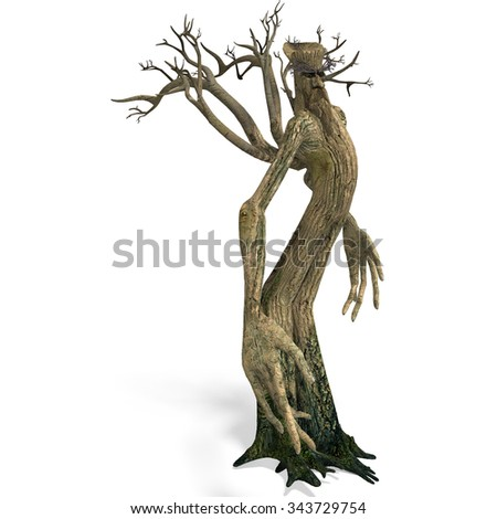 The Ent - Keeper of the forest. 3D rendering with clipping path and shadow over white