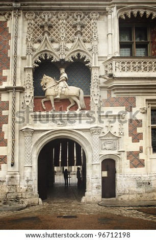 The entrance of the Blois castle, France - stock photo