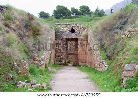 The entrance to Aegisthus Tholos Tomb in the ancient Mycenae, Greece