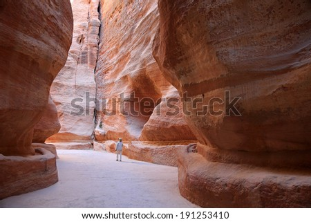The entrance to the ancient city of Petra, in Jordan - stock photo